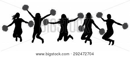 Silhouettes Of Cheerleaders (jumping Girls With Pompoms), Isolated. Vector Illustration.