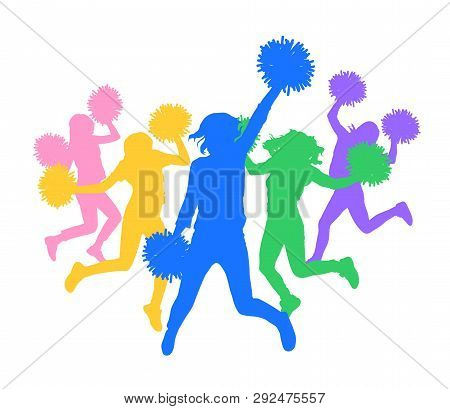 Colorful Silhouette Of Cheerleaders (dancing Fans).vector Illustration