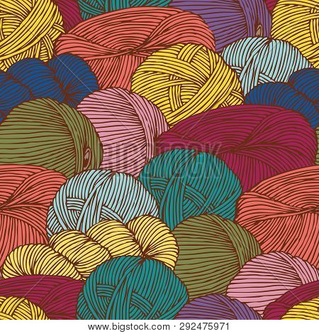 Seamless Pattern with Scattering Hanks of Yarn poster