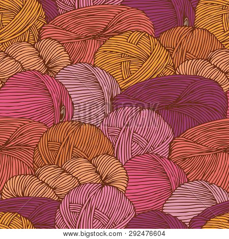 Seamless Pattern With Warm Colors Hanks Of Yarn