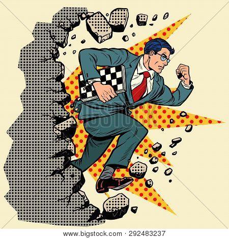 Chess Grandmaster Breaks A Wall, Destroys Stereotypes. Moving Forward, Personal Development. Pop Art