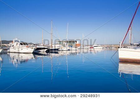 Ibiza San Antonio Abad port in blue mediterranean day