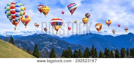 Colorful Hot Air Balloon Fly Over Panorama Nature Landscape Of Mountain View From Cingjing Farm, Nan