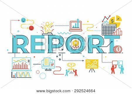 Report Word Lettering Illustration
