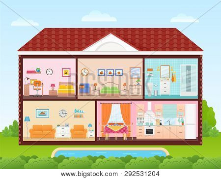 House Inside, Interior. Vector. Home Cross Section With Rooms Bedroom, Living Room, Kitchen, Dining,