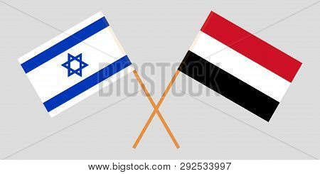 Yemen And Israel. The Yemeni And Israeli Flags. Official Colors. Correct Proportion. Vector Illustra