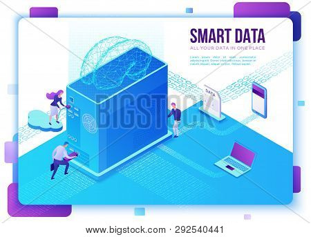Smart Data Collection Website Template, Isometric 3d Illustration With Computer, Artificial Intellig