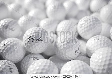 Pile Of Golf Balls. 3D Concept Render.