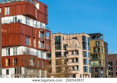 Modern Apartment Houses In The Hafencity In Hamburg, Germany