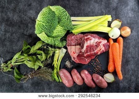 Meat And Vegetables For Preparation For The French Pot Au Feu