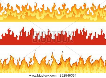 Fire Banner. Flame Border Blazing Silhouette Or Eternal Flames. Hell Flaming Banners Illustration Se