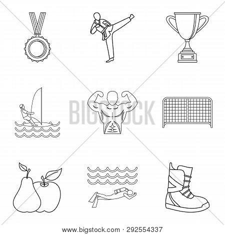 Sport Lifestyle Icons Set. Outline Set Of 9 Sport Lifestyle Icons For Web Isolated On White Backgrou