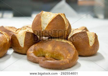 A Pretzel Bread On White Paper On White