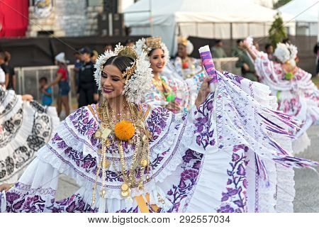 Folklore Dances In Traditional Costume At The Carnival In The Streets Of Panama City Panama
