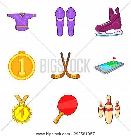 Athletes Reaction Icons Set. Cartoon Set Of 9 Athletes Reaction Icons For Web Isolated On White Back