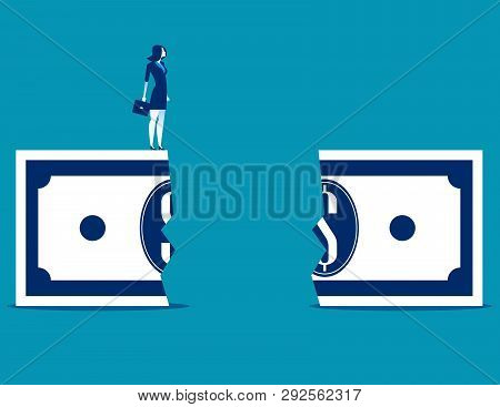 Businesswoman At Financial Chasm. Concept Business Vector Illustration.