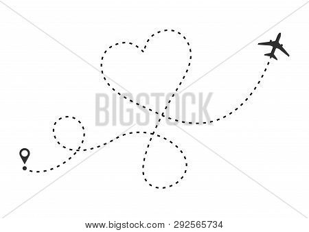 Love Airplane Route. Heart Dashed Line Trace And Plane Routes Isolated On White Background. Romantic