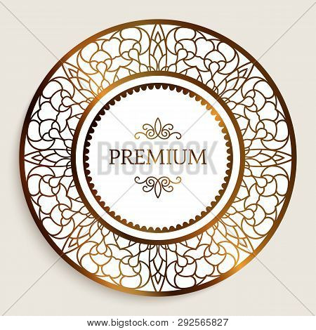Premium Quality Label With Gold Border Pattern, Ornamental Sticker, Golden Round Frame With Filigree