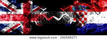 United Kingdom Vs Croatia, Croatian Smoky Mystic Flags Placed Side By Side. Thick Colored Silky Smok