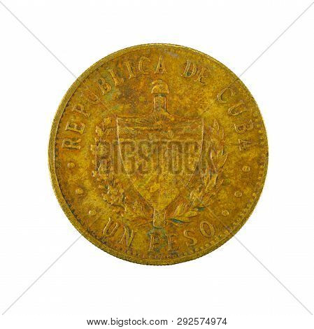 1 Cuban Peso Coin (1987) Reverse Isolated On White Background