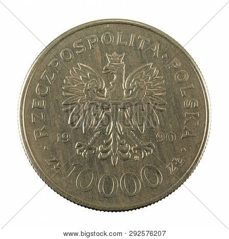10000 Polish Zloty Coin (1990) Obverse Isolated On White Background