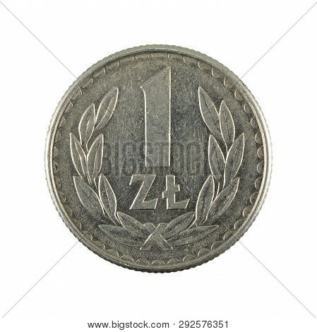 1 Polish Zloty Coin (1986) Obverse Isolated On White Background