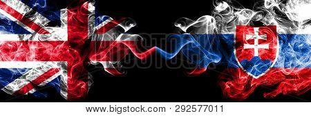 United Kingdom Vs Slovakia, Slovakian Smoky Mystic Flags Placed Side By Side. Thick Colored Silky Sm
