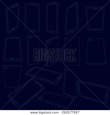 Set With Contours Of The Phone. Contours Of The Phone In Different Positions. Vector Illustration