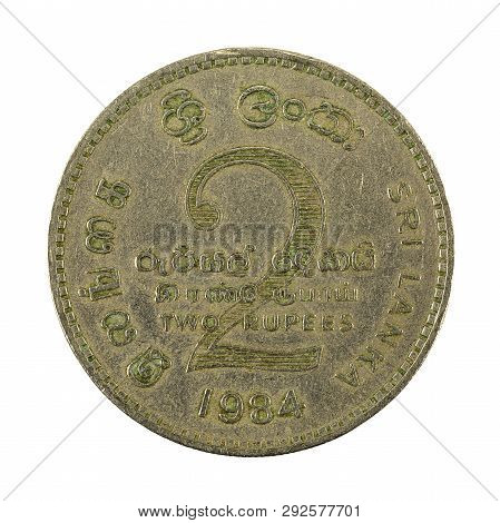 2 Sri Lankan Rupee Coin (1984) Obverse Isolated On White Background