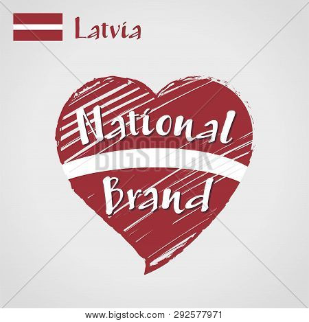 Vector Flag Heart Of Latvia, National Brand. Latvia Flag In Shape Of Heart, Pencil Strokes Drawing.