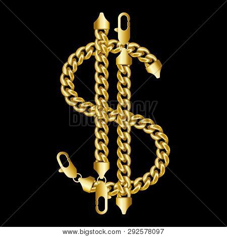 Gold American Dollar Money Sign Made Of Shiny Thick Golden Chains With A Lobster Claw Clasp Lock. Re