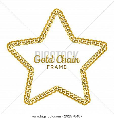 Gold Chain Star Border Frame. Wreath Starry Shape. Jewelry Accessories. Realistic Vector Illustratio