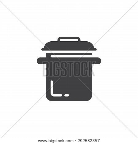 Cooking Pot Vector Icon. Filled Flat Sign For Mobile Concept And Web Design. Saucepan Glyph Icon. Ca