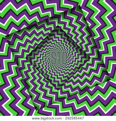 Abstract Turned Frames With A Rotating Purple Green Zigzag Stripes Pattern. Optical Illusion Hypnoti
