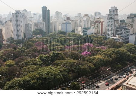 Sao Paulo, Brazil - July 2018:  Elevated View From Rooftop Shows Downtown Sao Paulo Cityscape Of Sky