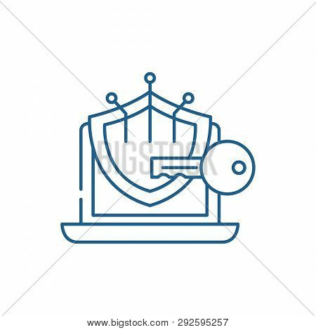Cryptography Line Icon Concept. Cryptography Flat  Vector Symbol, Sign, Outline Illustration.