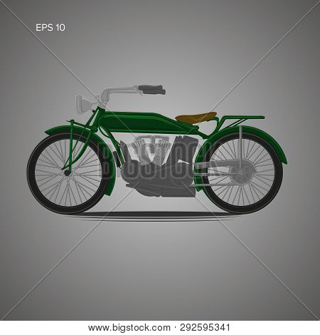 Vintage Motorcycle Vector Illustration. Old Retro Bike. Old School Motor Vehicle.