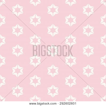 Cute Vintage Floral Seamless Pattern For Girls In Trendy Pastel Colors, Pink And White. Vector Abstr