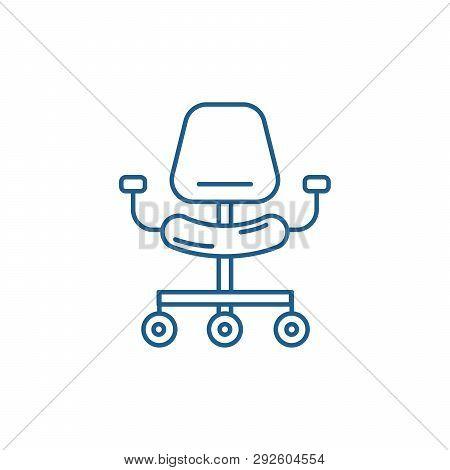 Ergonomic Chair Line Icon Concept. Ergonomic Chair Flat  Vector Symbol, Sign, Outline Illustration.