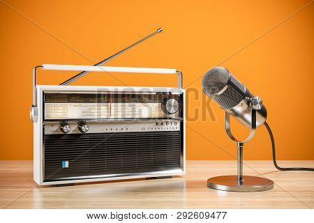 Desk Microphone And Radio On Table. The Concept Of The Radio Station. 3d Render