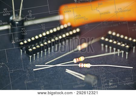 View Of The Electronic Components In Black Background