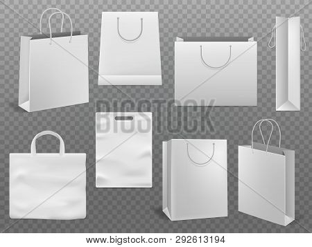 Shopping Bag Mockups. Empty Handbag White Paper Fashion Bag With Handle Vector 3d Realistic Isolated