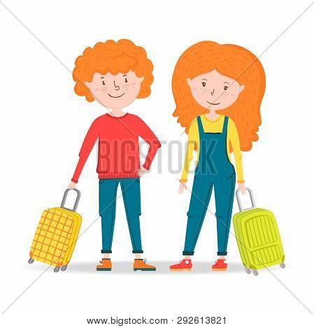 Little Girl And Boy Traveler Stands, Holding A Suitcase On Wheels. Ready To Travel Red Hair Teenager