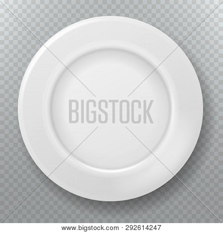 Empty White Plate. Food Clean Ceramic Porcelain Plate Top View Dish Bowl From Above Kitchen Cooking