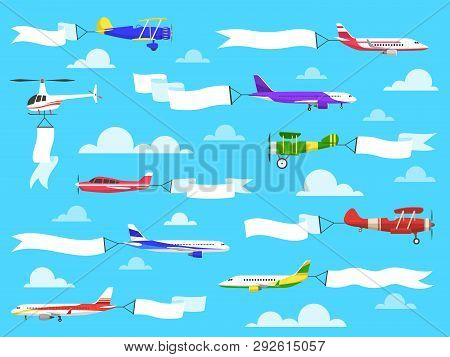 Plane Banners. Sky Banner Airplane Flying Planes Helicopter Ribbon Flight Message Pull Advertisement