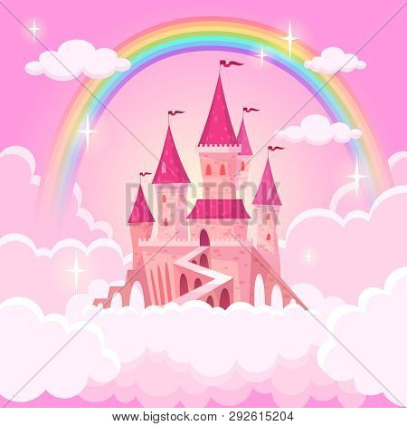 Castle Princess. Fantasy Flying Tale Palace Fairies Clouds Magic Fairytale Royal Palace Heaven Medie