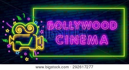 Vintage Bollywood Movie Signboard. Glowing Retro Indian Cinema Neon Vector Sign. Illustration Of Bol