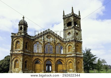 Stowe, Buckinghamshire, Uk - March 28: Picture Of Gothic Temple Or Temple Of Liberty On March 28, 20