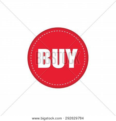 Red Buy Button For Web Shop Design. Red Circle Round Buy Button Vector Eps10.