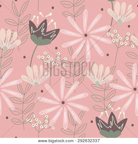 Modern Floral Seamless Pattern On A Pink Background. Vector Illustration.